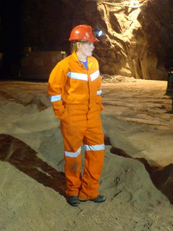 Dr Caroline Graham working in a salt mine.