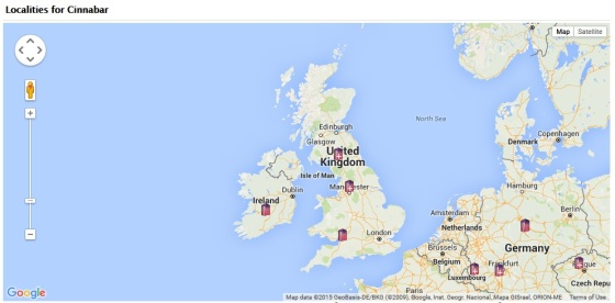 Locations for Cinnabar in the UK, as per the MinDat website.
