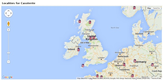 Location of Cassiterite in the UK from the MinDat Website