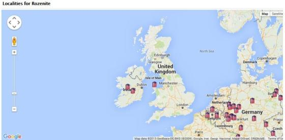 The location of Rozenite in the UK from the MinDat website.