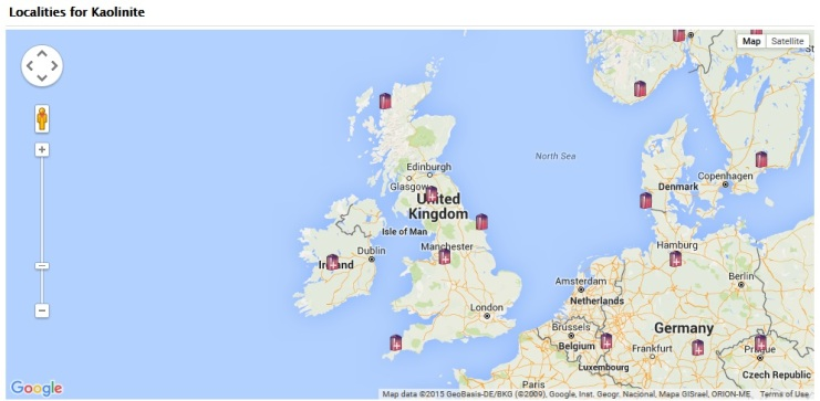 Kaolinite is found in many locations in the UK, in fact if you zoom in on this map from the MinDat Website you can see more and more little crystals pop up!