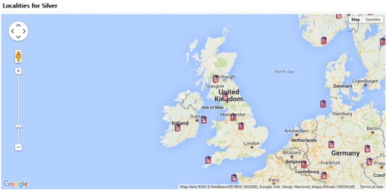 Locations for Silver in the UK from the MinDat Website - again visit the website for much more detailed information.