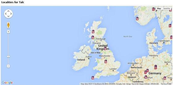 Locations you can find Talc in the UK according to the MinDat website
