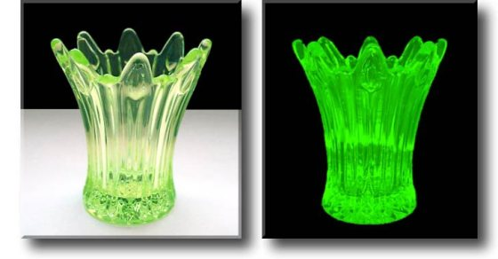 One of the key giveaways about Vaseline Glass (or Uranium Glass) is that it is a bright yellow-green and fluoresces in UV light (image from 1st glass 1st things).